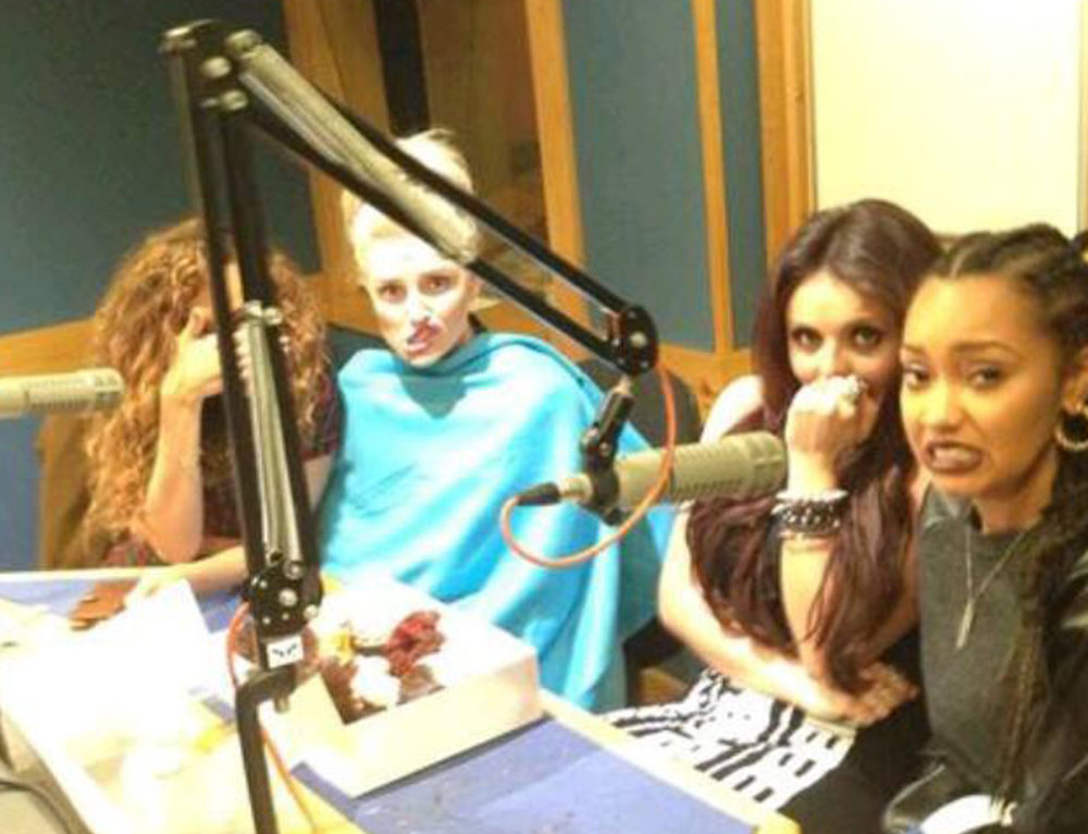 The Little Mix Ladies tuck into our Custom Cupcakes